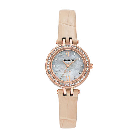 Armitron Womens Crystal Accent Pink Leather Strap Watch-75/5632mprgbh, One Size , No Color Family