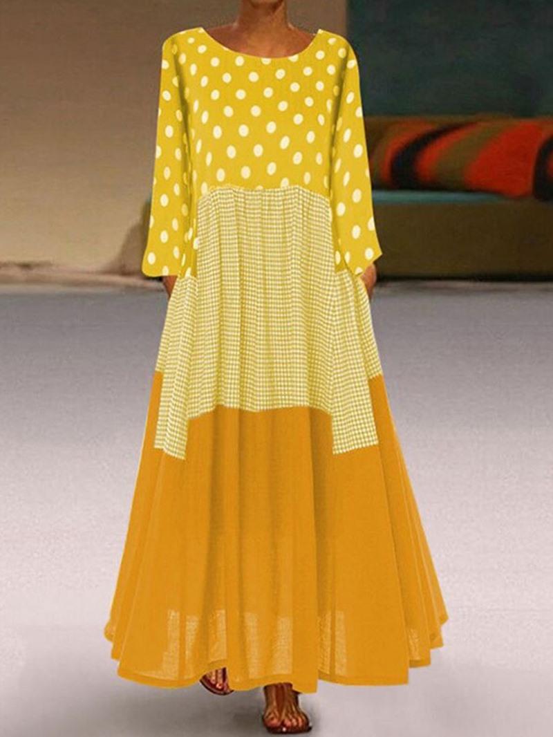 Ericdress Patchwork Long Sleeve Round Neck Regular Polka Dots Dress