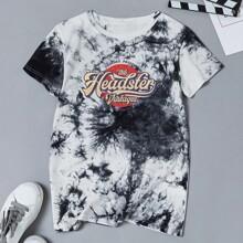 T-Shirt mit Buchstaben & Batik Muster