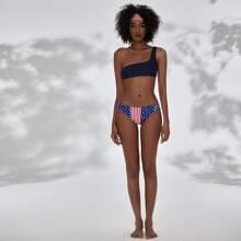 Bikini Badeanzug mit amerikanischer Flagge Muster und einer Schulter