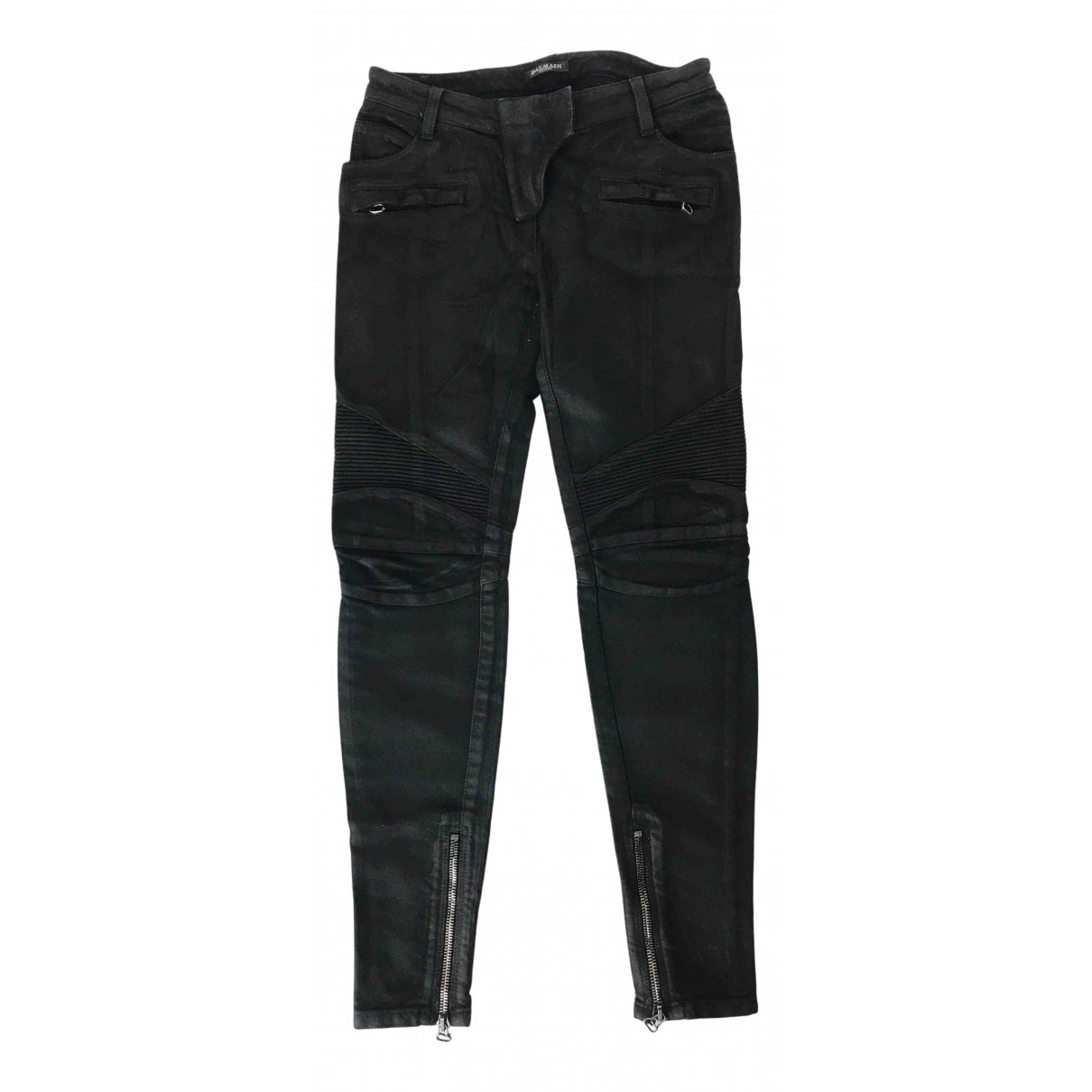 Balmain \N Black Cotton Jeans for Women 42 IT