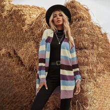 Striped Colorblock Open Front Cardigan