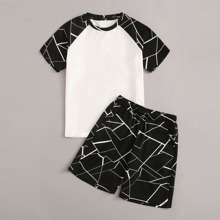 Boys Geo Raglan Sleeve Tee and Slant Pocket Shorts PJ Set