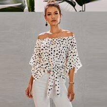 Dalmatian Knot Hem Bardot Blouse