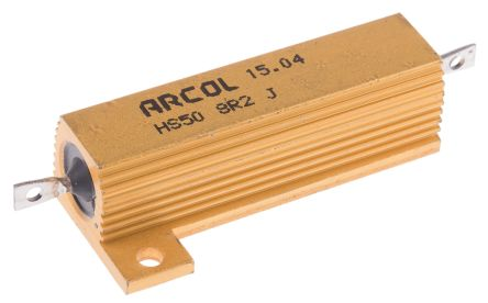 Arcol HS50 Series Aluminium Housed Axial Wire Wound Panel Mount Resistor, 8.2Ω ±5% 50W (20)