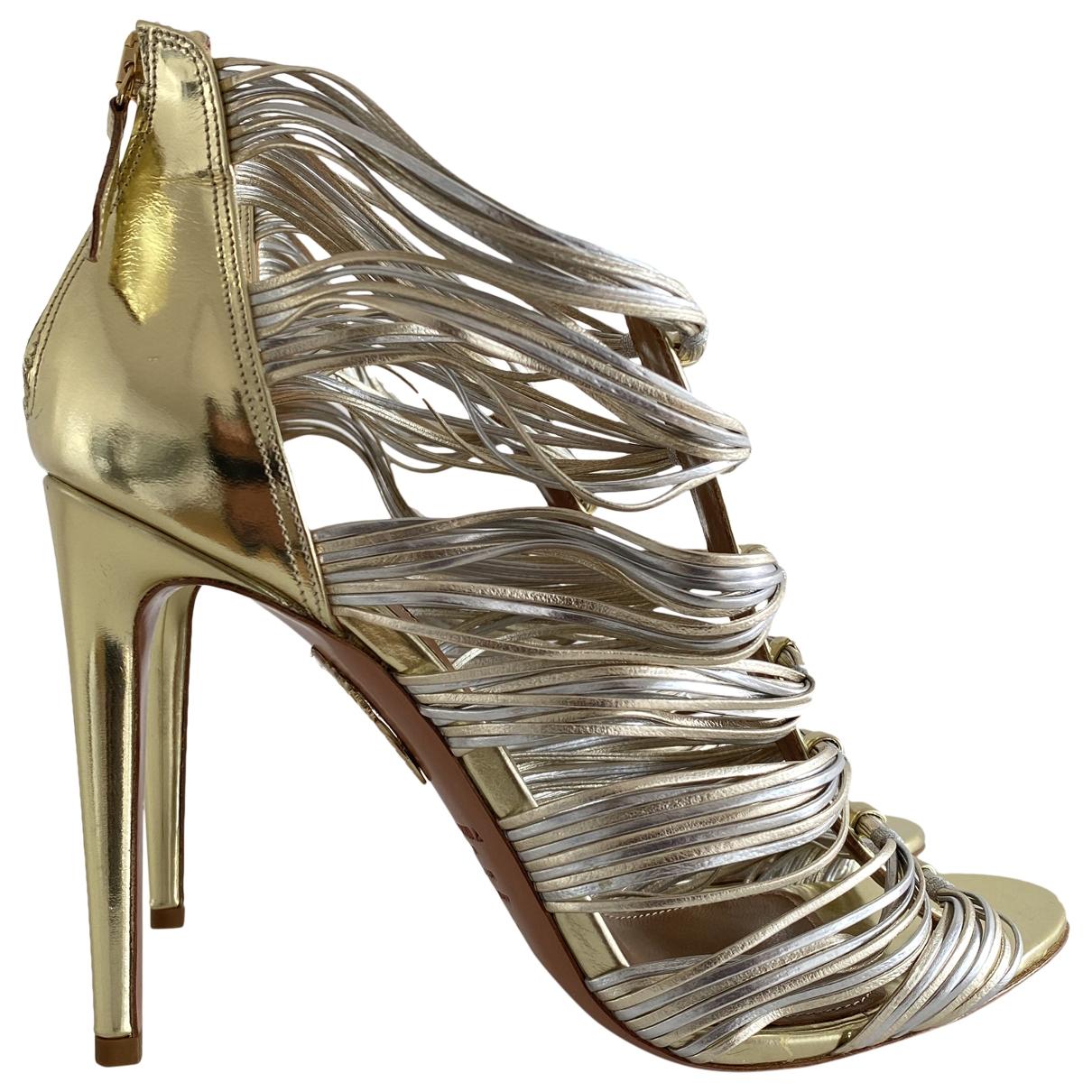 Aquazzura - Sandales   pour femme en cuir - dore