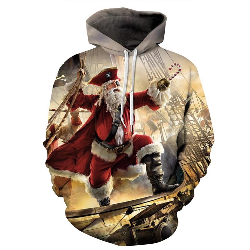 Popular Long Sleeve Christmas Santa Claus Pirate Pattern 3D Painted Hoodie