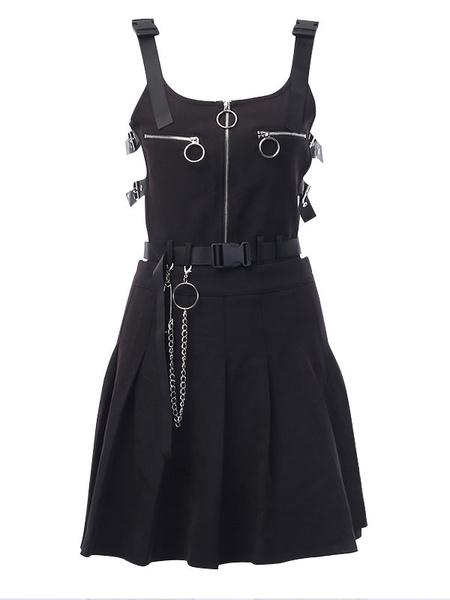 Milanoo Military Lolita JSK Dress Grommet Chain Metal Details Lolita Jumper Skirts