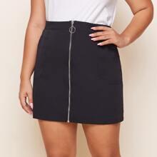 Plus O-ring Zip Up Straight Skirt