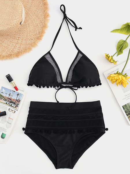 Yoins Black Tassel details Plain Bowknot Halter Wireless Sleeveless High-Waisted Bikini