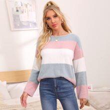 Drop Shoulder Colorblock Fuzzy Sweater