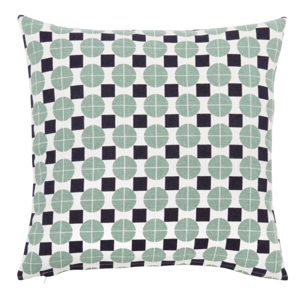 Kissenbezug aus Baumwolle, weiss, mit grafischen Motiven 40x40