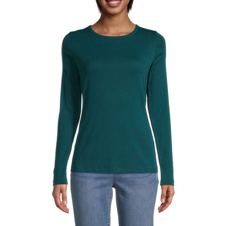 St. John's Bay-Womens Long Sleeve T-Shirt, Petite X-small , Green