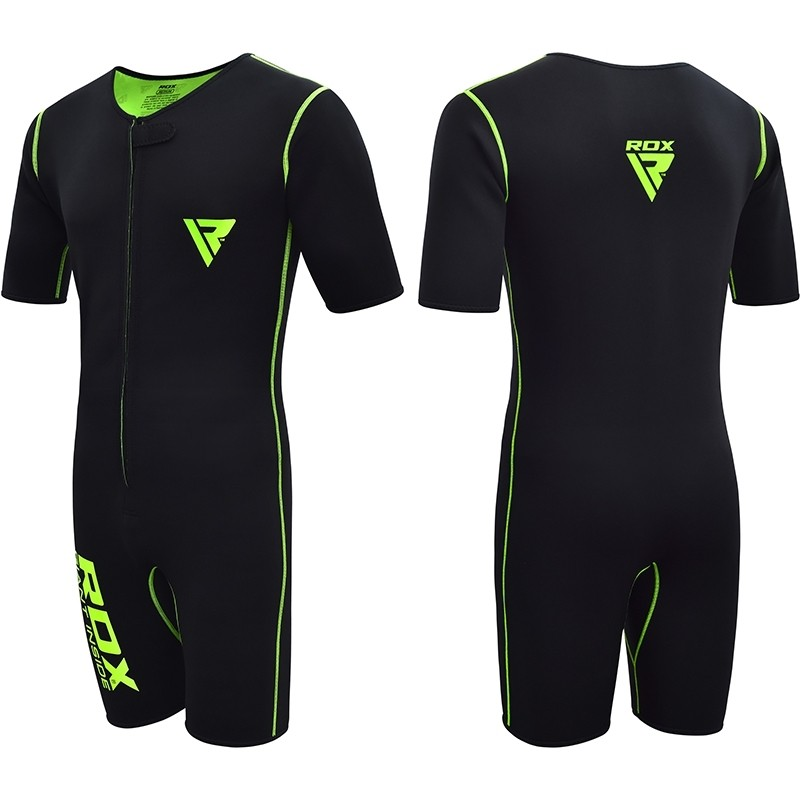 RDX X1 Medium Black/Green Neoprene Compression Sweat Sauna Suit Weight Loss Fitness Slimming Exercise Bodybuilding Running Gym Workout Boxing MMA Men