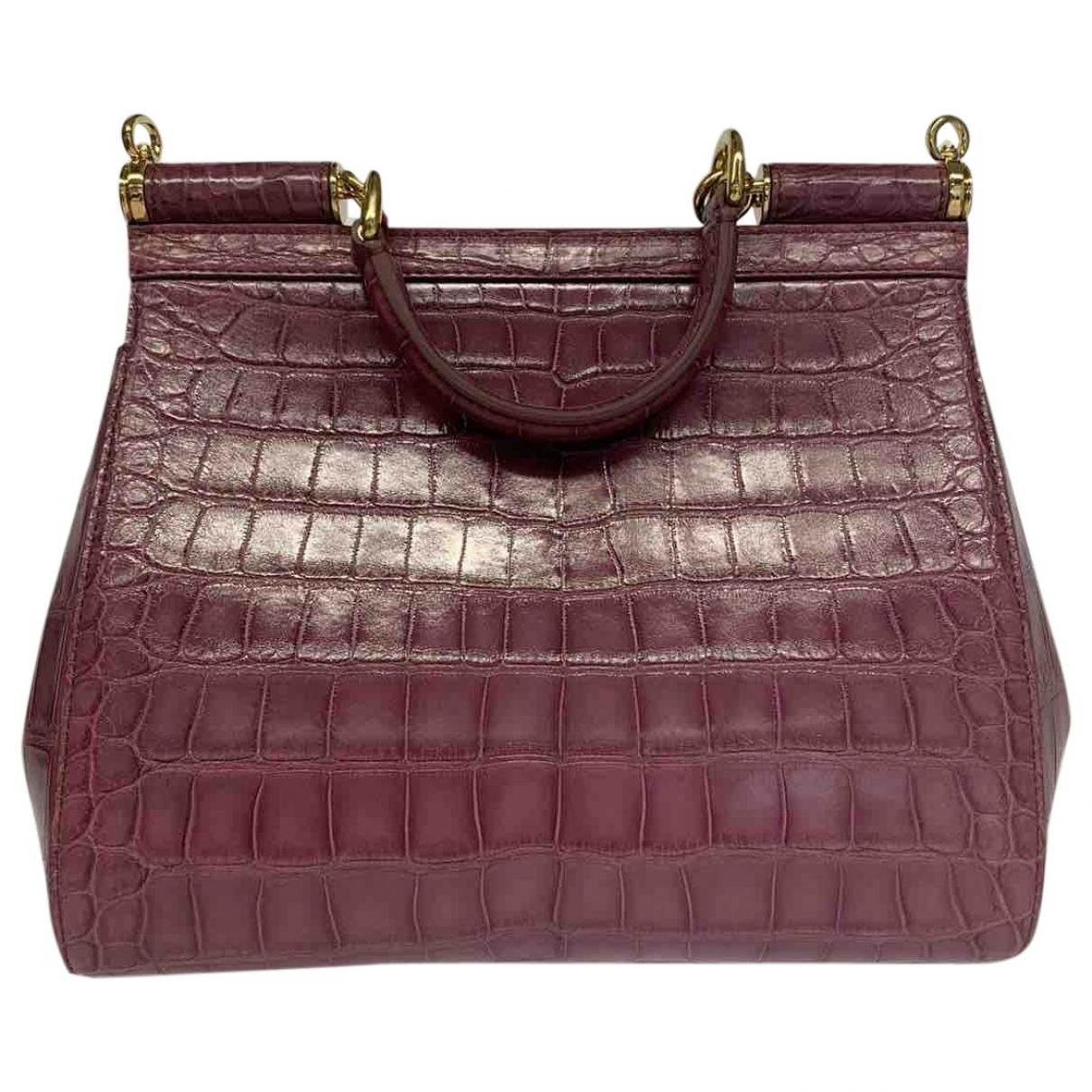 Dolce & Gabbana - Sac a main Sicily pour femme en crocodile - violet