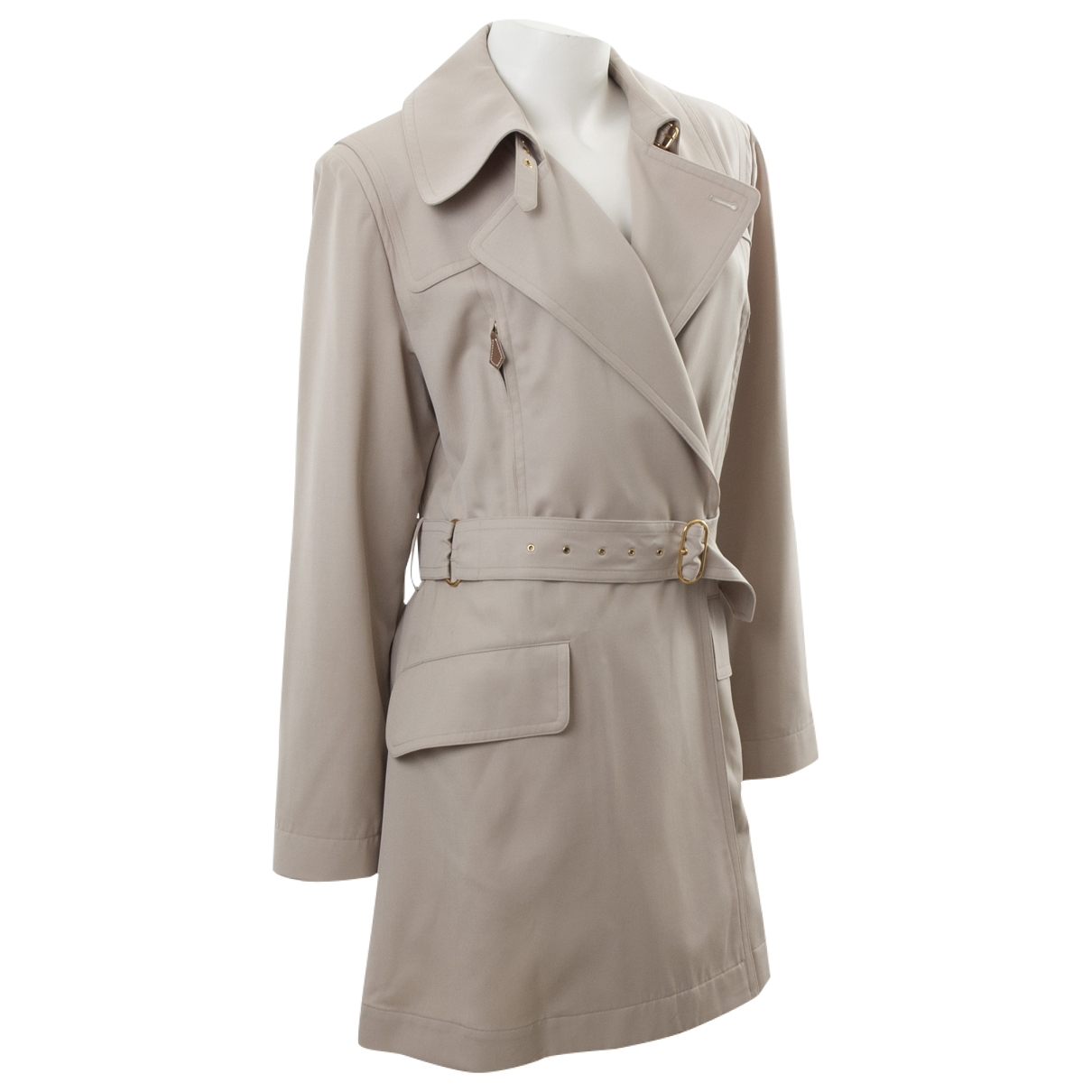 Hermes - Trench   pour femme en laine - beige