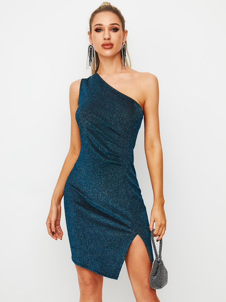 YOINS Blue Glitter Slit Design One Shoulder Sleeveless Dress