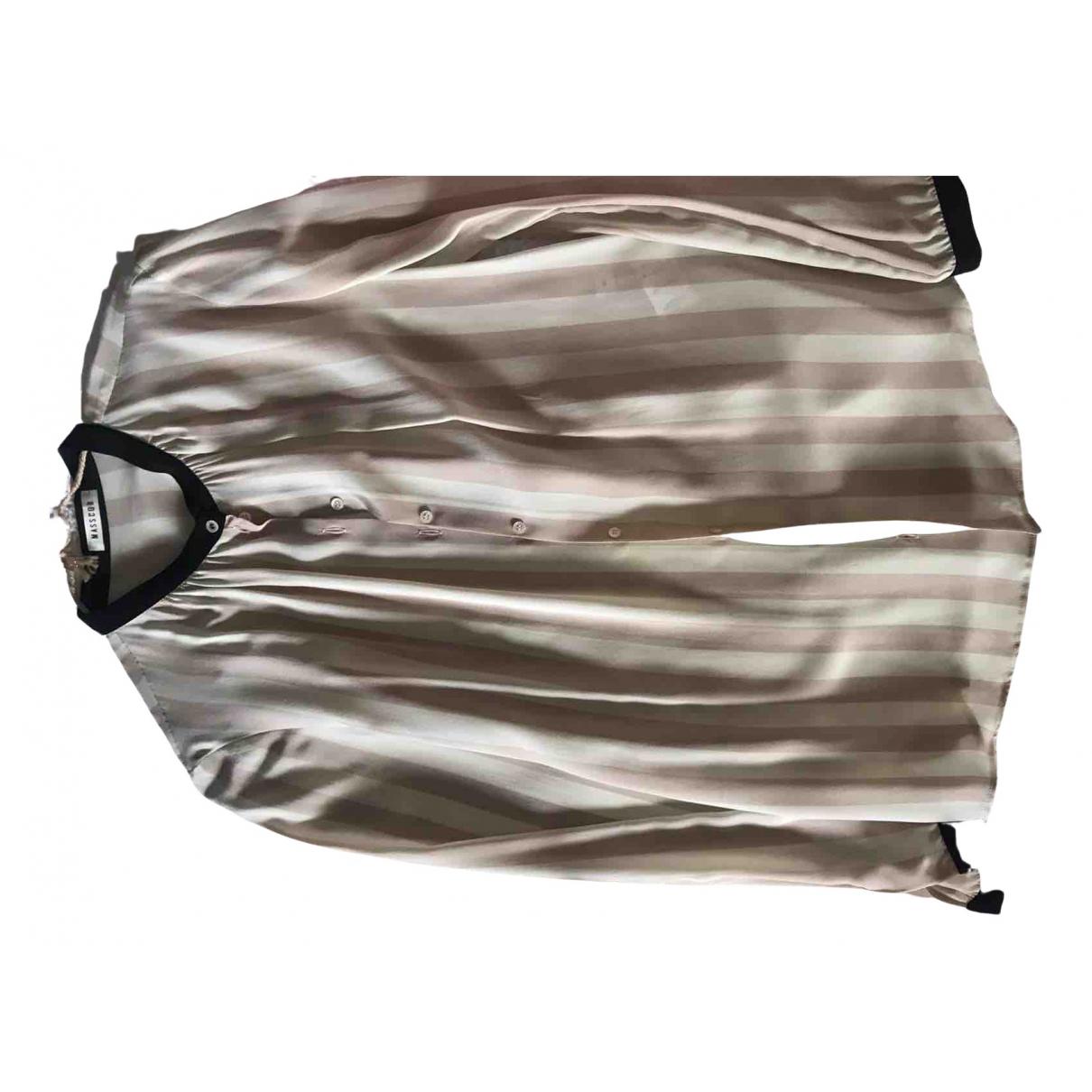 Masscob - Top   pour femme en soie - beige