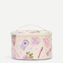 Rose Pattern Zipper Around Makeup Bag