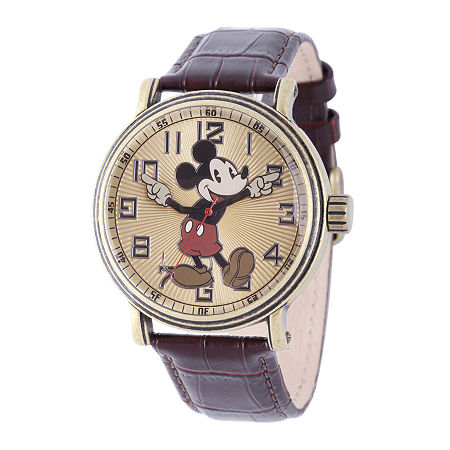 Disney Mens Mickey Mouse Brown Leather Strap Watch, One Size , No Color Family