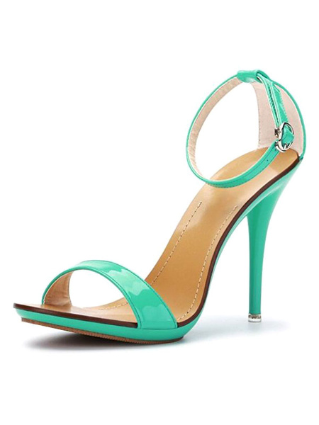 Milanoo High Heels Sandals Womens Blue Open Toe Ankle Strap Stiletto Heels Sandals