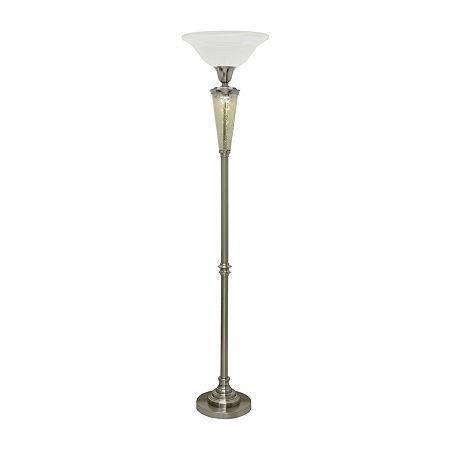 Stylecraft 16 W Mercury & Steel Floor Lamp, One Size , Silver
