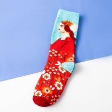 Figure Graphic Socks