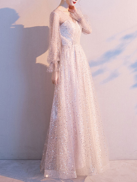 Milanoo Prom Dress A Line V Neck Sequined Long Sleeves Wedding Guest Dresses