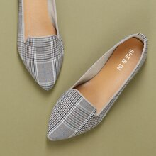 Flache Loafers mit Karo Muster