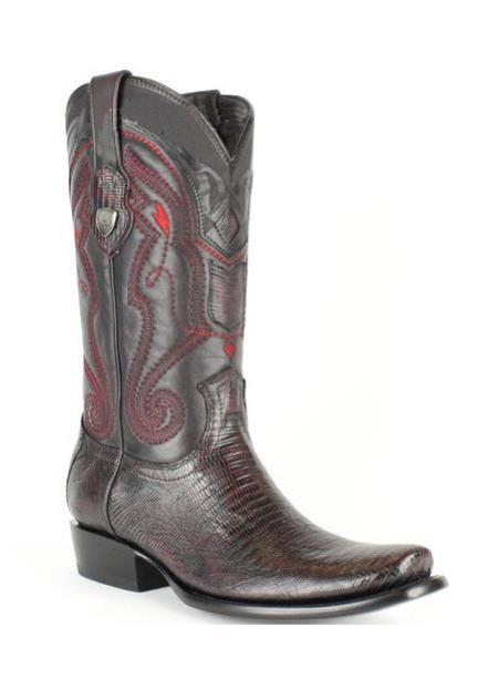 Mens Wild West Leather Dubai Square Toe Black Cherry Teju Lizard Boots