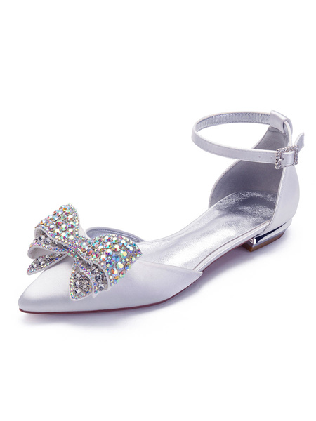 Milanoo Flat Wedding Shoes White Satin Bows Pointed Toe Ankle Strap Bridal Shoes Bridesmaid Shoes