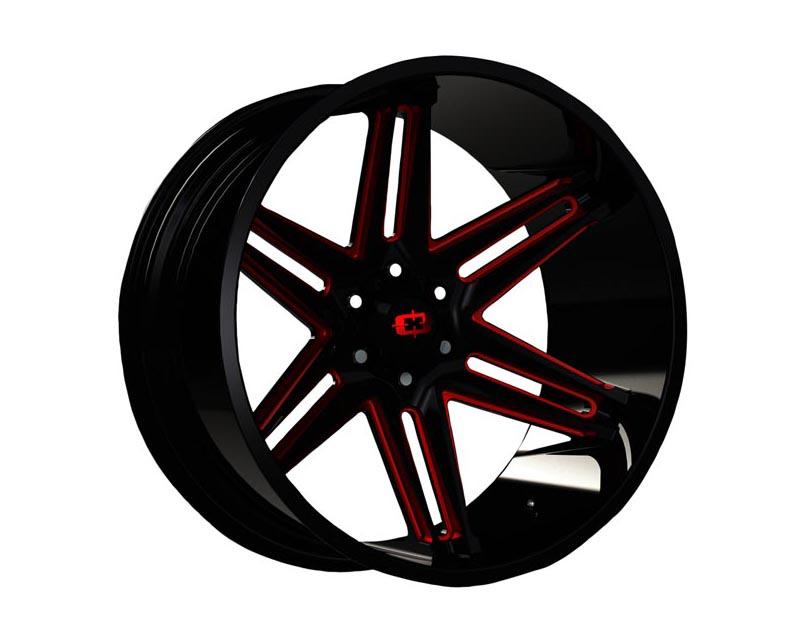 Vision Wheels 363-24283GBMR-51 Razor Wheel 24x12 6x139.70x51 BKGLBR Gloss Black Milled Spokes Red Tint