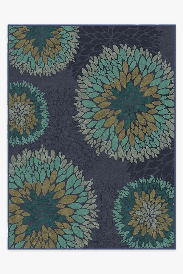 Washable Rug Cover & Pad | Floral Medallion Navy Rug | Stain-Resistant | Ruggable | 9'x12'