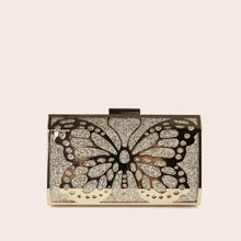 Allover Glitter Decor Butterfly Graphic Box Bag
