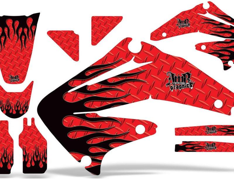 AMR Racing Dirt Bike Graphics Kit Decal Sticker Wrap For Honda CRF450R 2002-2004áDIAMOND FLAMES RED BLACK