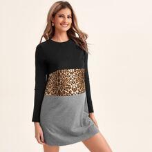 Maternidad vestido camiseta de color combinado de leopardo