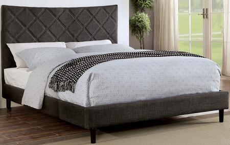 Estarra Collection CM7073GY-Q-BED Queen Size Bed with Upholstered  Padded Linen-like Fabric and X-Shaped Tuft in