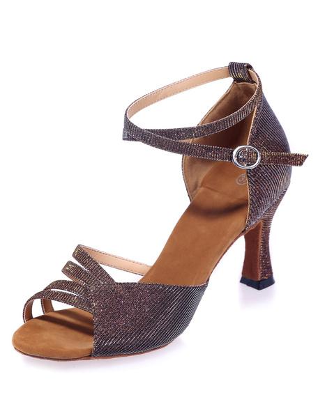 Milanoo Brown Latin Dance Sandals Cut-Out Glitter Heels for Women