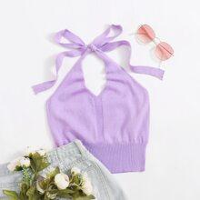 Tie Back Crop Knit Halter Top