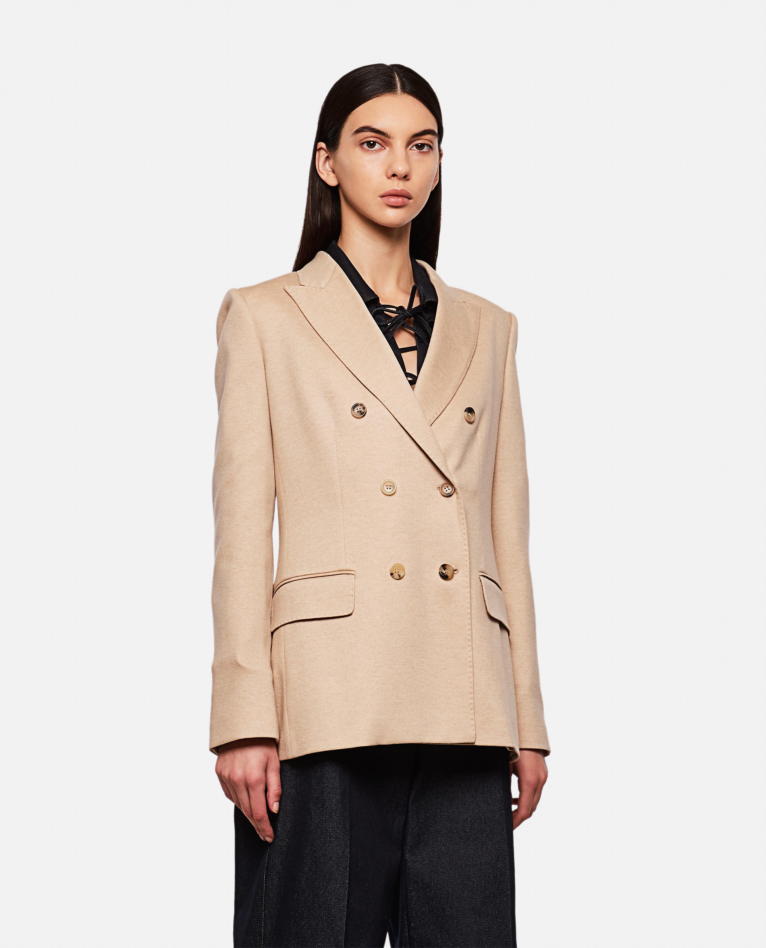 Camel-colored wool blazer