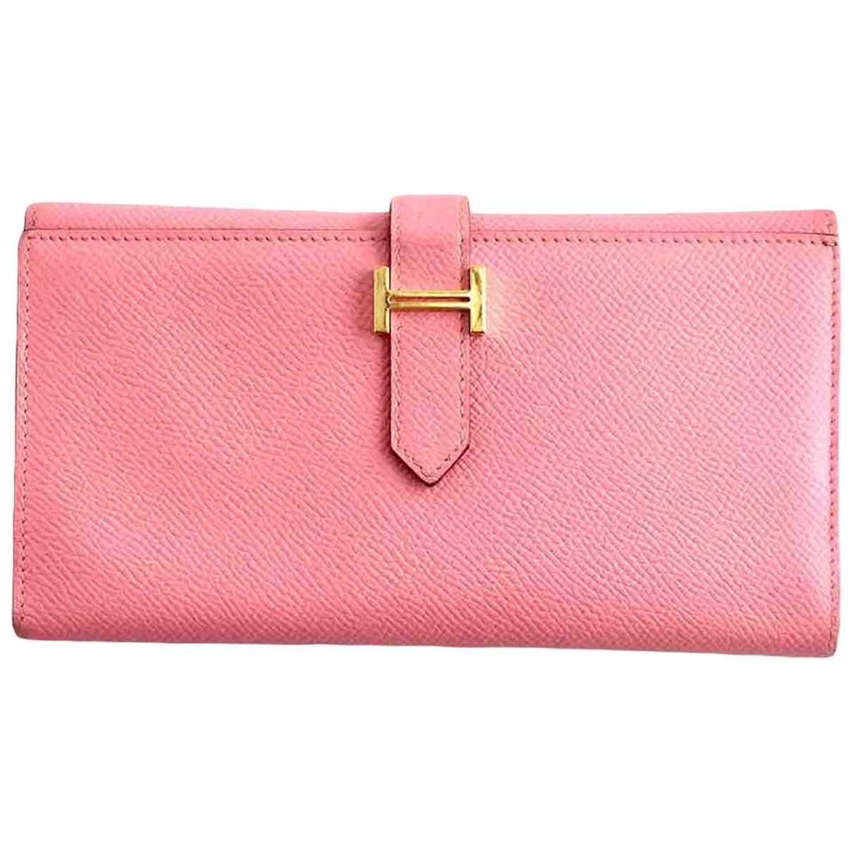 Hermes - Portefeuille Bearn pour femme en cuir - rose