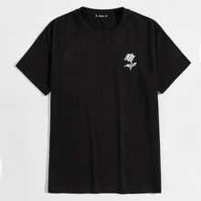 T-Shirt mit sehr tief angesetzter Schulterpartie und Blumen Muster