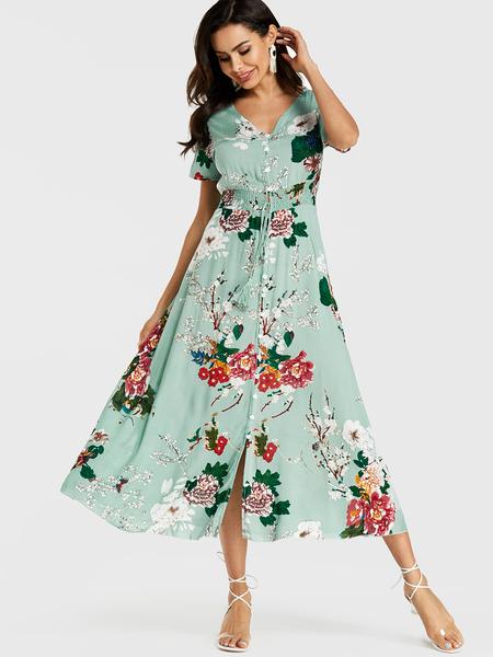 Yoins Mint Green Floral Print V-neck Smocking Dress
