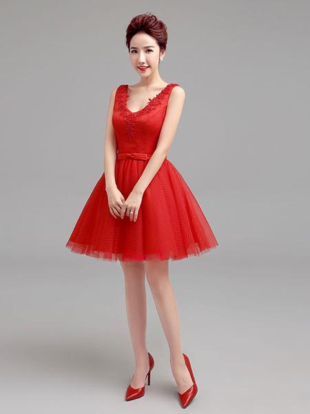 Milanoo Short Prom Dresses Red V Neck Tutu Graduation Dress Bow Sash Tutu Sleeveless Mini Homecoming Dress