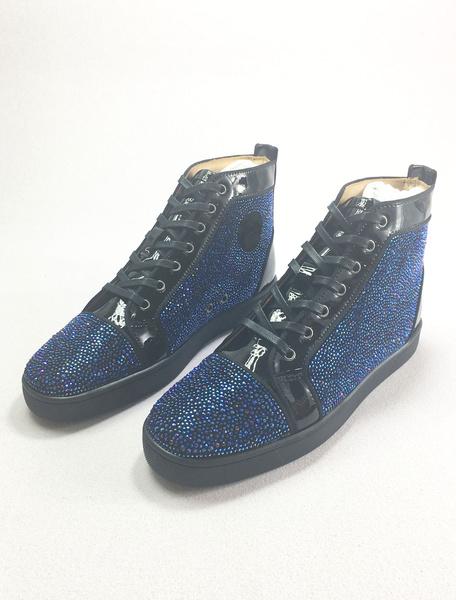 Milanoo Zapatos de tacon azul Zapatos de tacon redondo de los hombres de cuero Lace Up Zapatillas de deporte de la parte superior de los Rhinestones