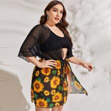 Plus Sunflower Print Sheer Mesh Kimono