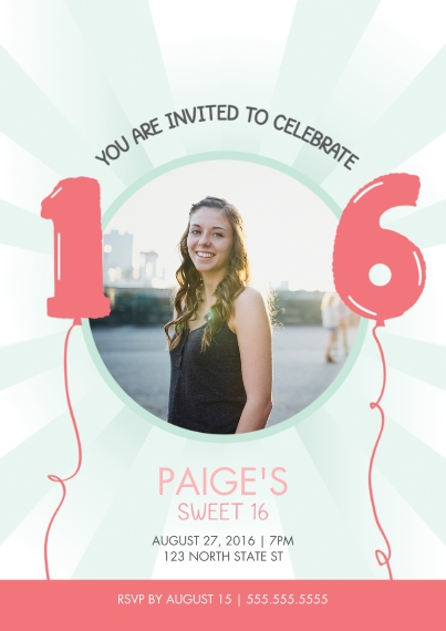 Birthday Party Invites 5x7 Cards, Standard Cardstock 85lb, Card & Stationery -Sweet 16 Birthday