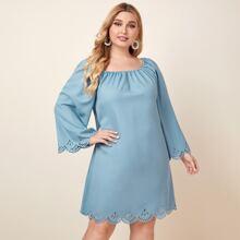 Tunika Kleid mit Laserausschnitt und Bogenkante