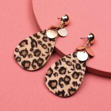 Ohrringe mit Leopard Muster und Wassertropfen Design
