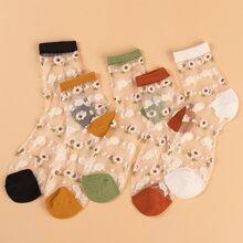 5pairs Floral Pattern Mesh Socks